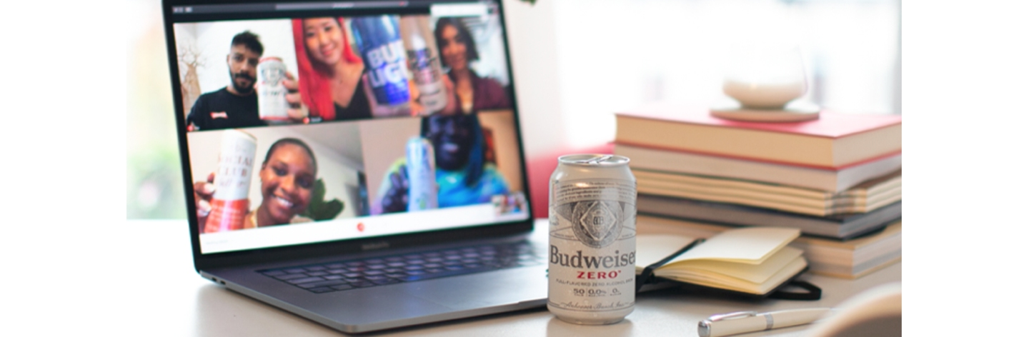 Online group call with non-alcoholic beverages